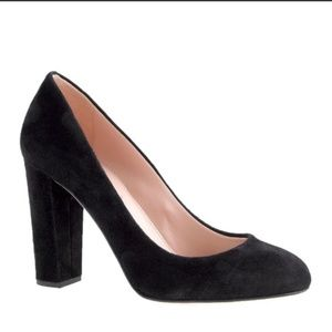 J. Crew Etta Black Suede Leather Block Heels